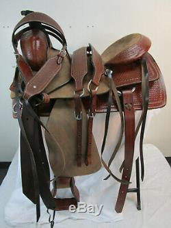 Roping Selle Western Horse Ranch Plaisir Tooled Cuir Occasion Tack Set 17 16