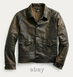 Rrl Ralph Lauren Brown Newsboy 1900s Leather Jacket Homme 2xl XXL Patina