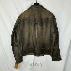 Rrl Ralph Lauren Brown Newsboy 1900s Leather Jacket Homme XL Extra-large Patina