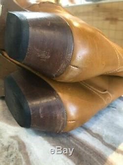 Saint Laurent Santiag Brown Camel Cuir Occidental Cheville Zip Boot Stack 38.5 / 8.5