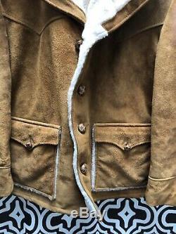 Schott Rancher Vintage En Cuir Suédé Sherpa Veste Manteau Doublé Western Cowboy 44