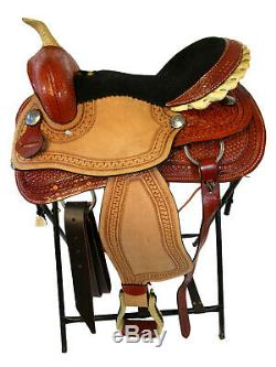 Selle Western 15 16 Pleasure Trail Barrel Racing Occasion Cuir Ouvragé Cheval Tack