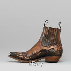 Sendra 4660 Hommes Cuir Pointu Talon Ouest De Cuba Cowboy Bottes Brown / Tan Nouveau