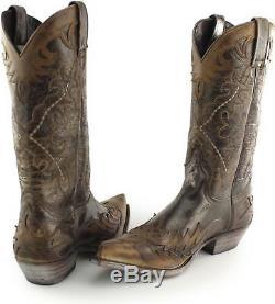 Sendra 9669 Espagnol Hommes Cuir Mi-mollet Cowboy Western Boots Flota Brown Tan