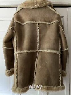 Sheepskin Sheearling Ranch Coat Bermans Vtg Marlboro Man Veste Sz 44 1970s