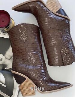 Superbe Authentique Fendi Cowboy Brown Croc En Cuir Bottes Sz Eu 39 Us 9