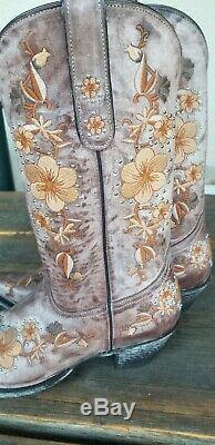 Superbe Old Gringo Western Boots Brown Brodé De Fleurs