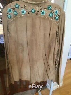Tn-o 508 $ Double D Ranch Huron Valley Buckskin Cuir Clouté Shirt XL