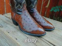 Tony Lama Full Quill Classics Bottes De Cowboy D'autruche États-unis Made 10,5d