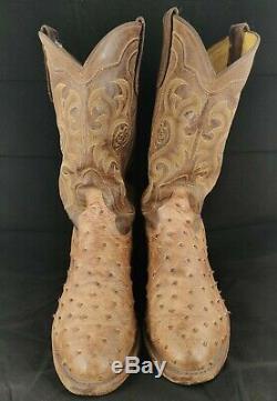Tony Lama Vintage Pleine Quill Hommes D'autruche Cowboy Bottes 8965 Taille 10.5d