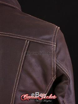 Trucker Veste En Cuir Pour Homme Occidental Classique Brown Denim Style Shirt Veste