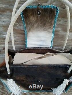 Turquoise Occidental En Cuir De Peau De Vache Sac À Couches Fourre-tout Avec Calf Corde Rodeo Bourse Bk46