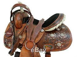 Utilisé Western Cheval Cuir Selle Tack Set Floral Tooled Barrel Trail Voir Rodeo