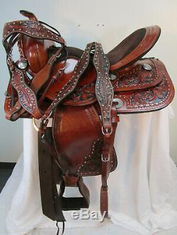 Utilisé Western Saddle 17 16 15 Horse Barrel Racing Pleasure Floral Tooled Tack Set