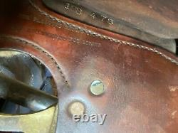 Utilisé/vintage Simco 15 Selle Occidentale Outillée Avec Conchos De Silver