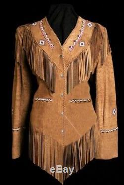 Veste En Cuir Avec Une Frange De L'ouest Amérindien Femmes