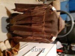 Veste En Cuir Vintage Western Scully Taille 46fringe Et Perles Brown