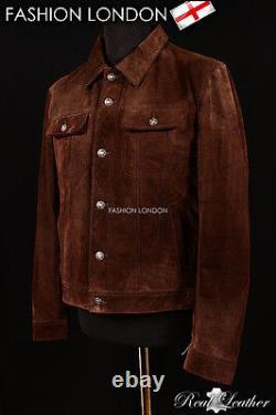 Veste En Cuir Western Trucker Homme Classic Brown Suede Leather Shirt Jacket