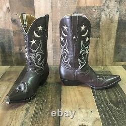 Vieille Gringo Lune Étoiles En Cuir Inlay Cowboy Bottes Femmes 10b