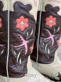 Vieilles Bottes Gringo Golondrina Pink Birds & Hearts Taille 9