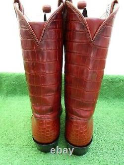 Vintage 100% Full Bias Cut Alligator Crocodile Rare Exotic Western Boot 13 D
