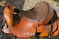 Vintage Brown Utilisé 16 Hereford Textan Western Cheval De Selle En Cuir
