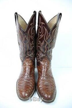 Vintage Dan Post Fourmilier Naturel Imprimer Peau Exotique Western Cowboy Bottes 8 D