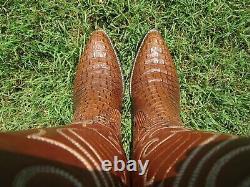 Vintage Dan Post Hornback Lézard Peau Exotique Rare Western Cowboy Bottes 8 D
