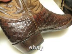 Vintage Exotiques Tony Lama Pirarucu Alligator Noir Cerise Bottes De Cowboy 11.5 D-buy