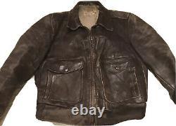 Vintage Horsehide Veste En Cuir Taille 40 Windward Western Made Front Quarter 50s