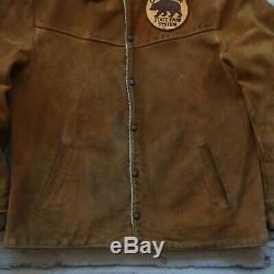 Vintage Levis Années 50 Big E Shorthorn Suede Veste Doublée En Cuir Western Wear