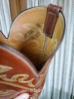 Vintage Lucchese Autruche Full Quill Mens Boots Années 1980