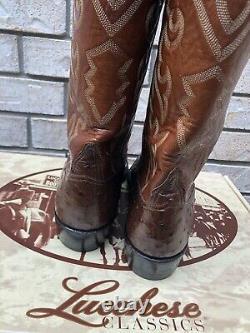 Vintage Lucchese Classics Cigar Brown Cowboy Boot Autruche San Antonio Made 11 D