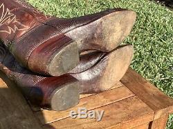 Vintage Lucchese Hommes Cowboy Cuir Western Bottes Lizard Size 10.5d