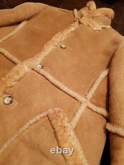 Vintage Marlboro Ranch Style Shearling Sheepskin Leather Coat Jacket Sz44