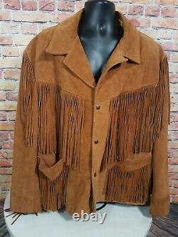Vintage Schott Rancher Fringe Brown Leather Jacket Coat Western Mens Taille 50 Euc