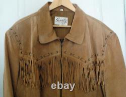 Vintage Scully Homme Taille XL Cowboy Western Veste En Cuir Manteau Avec Frange
