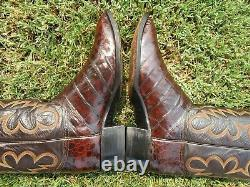 Vintage Tony Lama Bias Coupe Alligator Crocodile Rare Exotique Bottes Occidentales 11 E