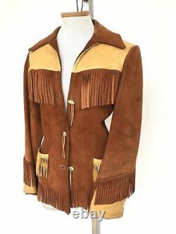 Vintage Vtg 1970s 70s Suede And Leather Fringed Western Veste À Deux Tons