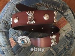 Vintage Western Style Ralph Lauren Brown Leather Sz S Madein Italie