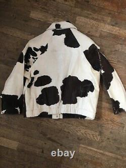 Vtg Années 1980 90s Femmes Veau Poney Vache Cacher Dames L-xl Ouest Cuir Manteau De Veste