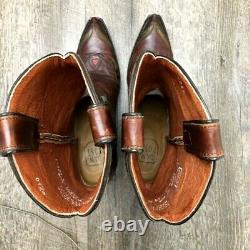 Vtg Dan Post Women's Blue Bird Western Cowboy Bottes Brown Floral Leather 6,5 M