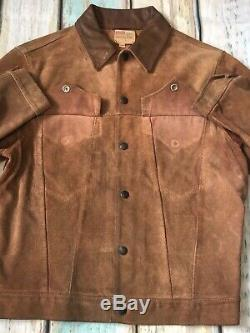 Vtg De Levi`s Western Wear Brown Suede Stud Up Veste En Cuir Uk 36