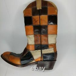 Vtg Femmes Laramie Checkered Bottes De Cowboy Fabriquées À La Main Fabriquées Aux États-unis Taille 9 D Euc