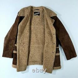 Vtg Marlboro Man Shearling Leather Wool Sherpa Ranch Jacket Coat Taille 46l Brun