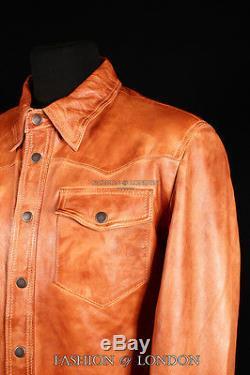 West Hommes Chemise En Cuir Occidental Trucker Cowboy Réel Veste D'été En Cuir Tan
