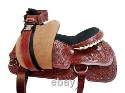 Western Cowboy Saddle Roping Roper Pleasure Horse Tooled Leather Tack Set 16 17