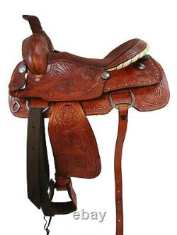 Western Saddle Roping Horse Pleasure Ranch Floral Tooled Leather Tack Set 16 17
