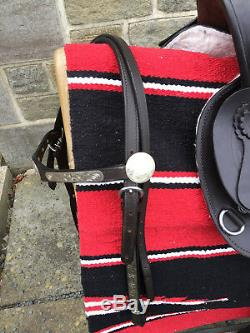 Windsor En Cuir Brun Occidental Selle Avec Bridle Navaro Selle Blanket & Cinch